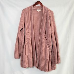 Band Of Gypsies Mauve Rose Long Cardigan Sweater S